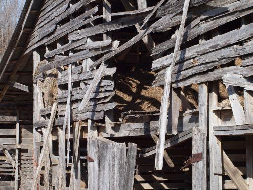 Wooden Barn Falling Down