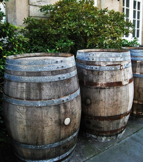 wooden barrels wood old