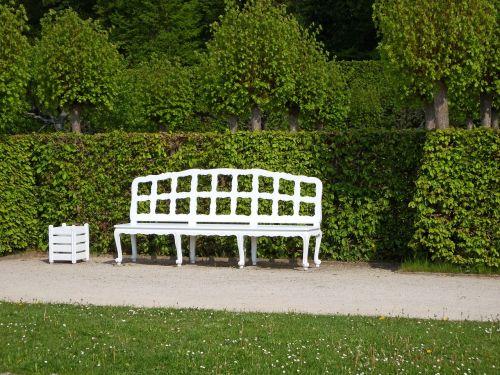 wooden bench white rest