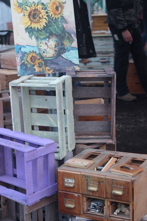 wooden boxes flea market old