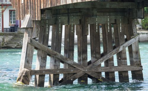 wooden bridge customs bridge bridge piers