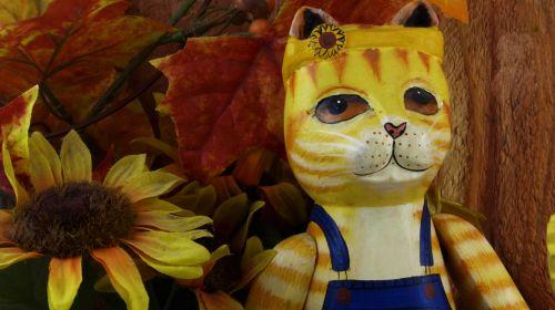Wooden Cat Figurine