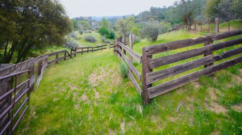 Wooden Corral In Hills