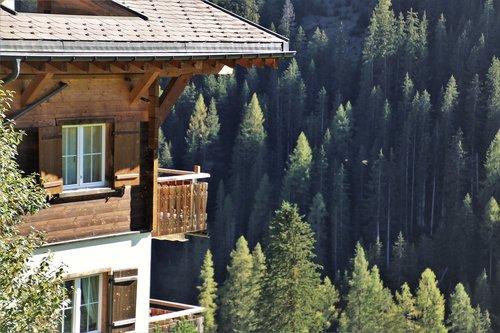 wooden house  alpine village  mountains