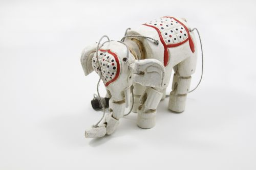 Wooden Indian Elephant Marionette