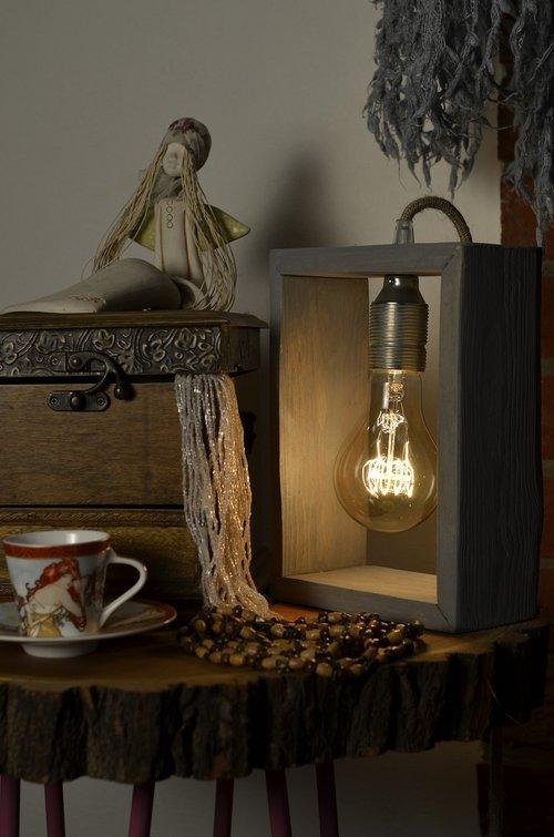 wooden lamp  casket  teacup