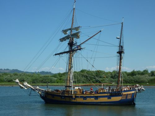 wooden ship sail ship sailing