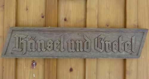 wooden sign fairy tales hansel and gretel
