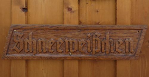 wooden sign fairy tales snow white