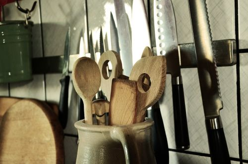 wooden spoon knife kitchen utensils