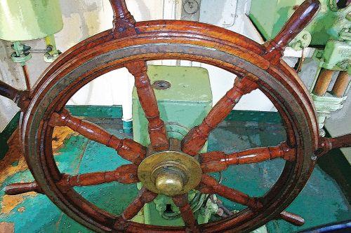 Wooden Steering Wheel Of Ship