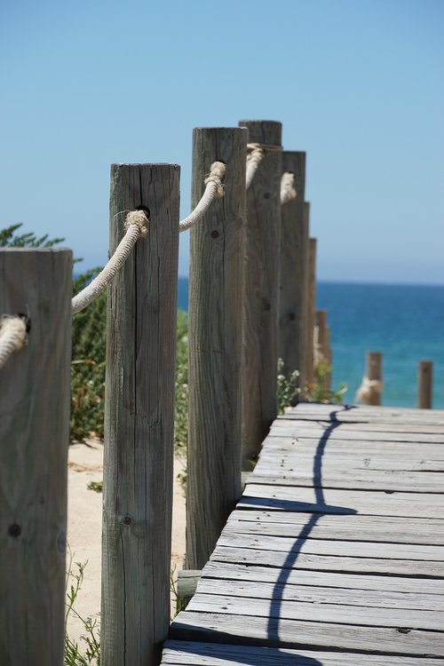 wooden track  away  sea