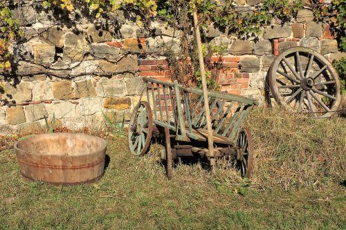 wooden tub handcart spoke wheel