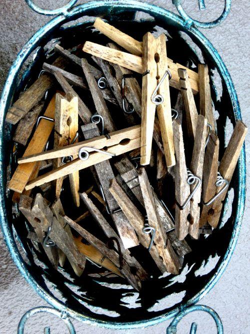 Wooden Vintage Clothes Pins