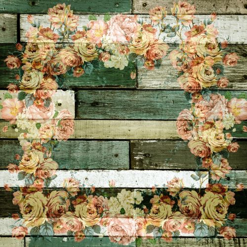 wooden wall roses decor