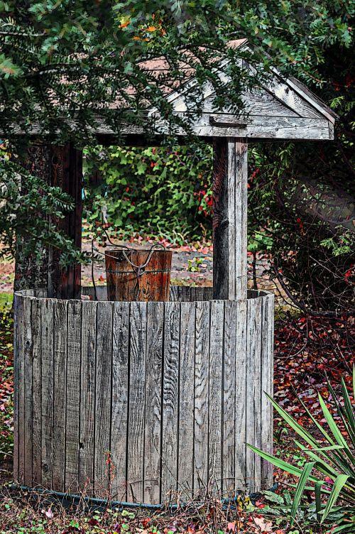 senas, gerai, vanduo & nbsp, gerai, vanduo, kibiras, vintage, nori & nbsp, gerai, mediena, medinis, augalai, krūmai, žalias, medinis vanduo gerai