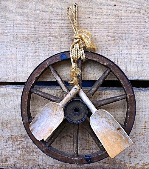 wooden wheel  wood blades  rustic