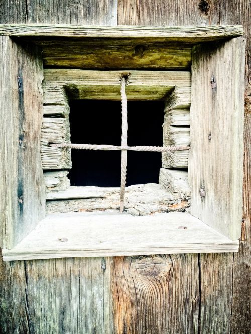 wooden windows weathered old