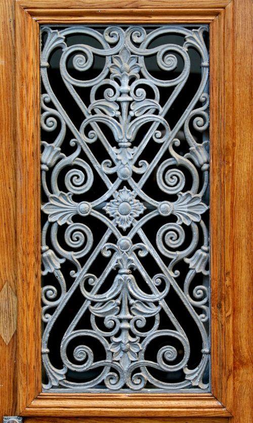 wooden windows art iron lily