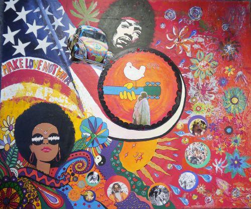 woodstock art hippi colorful
