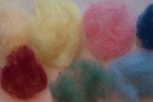 wool felt sheep's wool colored raw wool