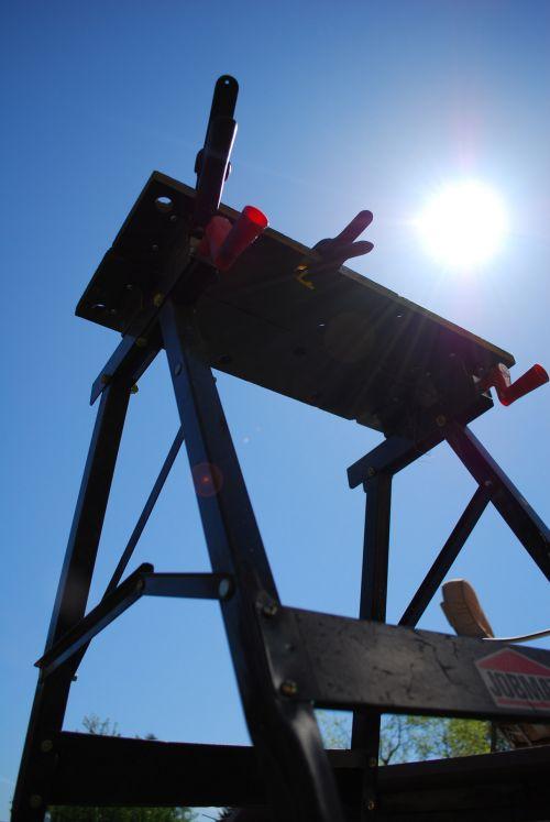 darbas, įrankiai, stendas, statyba, saulė, šviesi & nbsp, vasara, šiltas, diena, mėlynas, karštas, darbo stendas