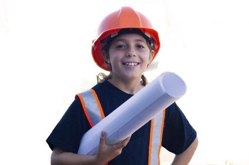 worker yard safety little girl