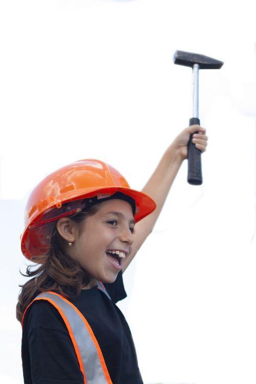worker little girl hammer