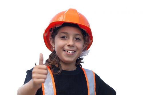 worker little girl yard safety
