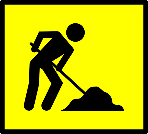 worker dig yellow