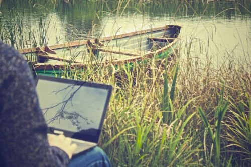 working outdoors laptop