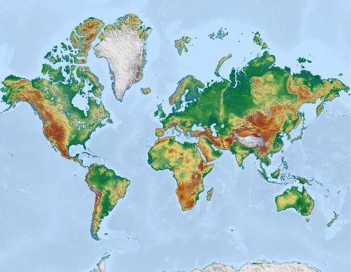 pasaulis,žemėlapis,pasaulio žemėlapis,žemė,Mercator,reljefo žemėlapis,žemynai,mercatoriaus projekcija,visuotinis,kartografija,topografija