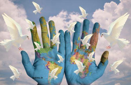 pasaulis,harmonija,žemynai,žemė,viltis,taika,mylėti ramybę,taikos balandis,pasaulio taika,balandis,Taikos ženklas,simbolis,taikus