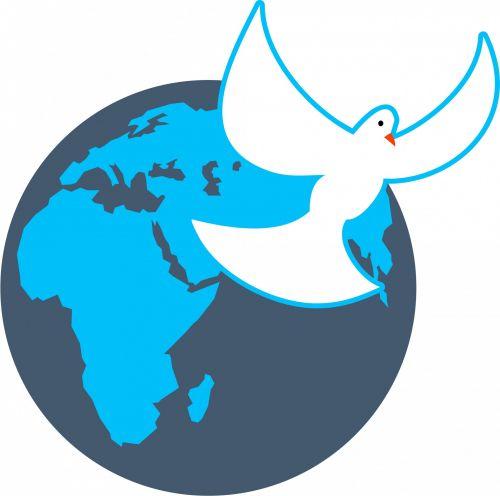 World Globe & Dove Clip Art