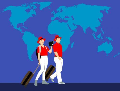 Pasaulio žemėlapis, kelionė, pora, keliautojas, draudimas, pasaulis, lagaminas, gaublys, laimingas, visuotinis, bagažas, subrendęs, kelionė, sveikata, žmonės, turistai, šeima, meilė, mėgėjai, vyras, terminas, išeiti į pensiją, išėjimas į pensiją, kelionė, bagažinė, kelionė, balta, moteris, Worlwide, be honoraro mokesčio
