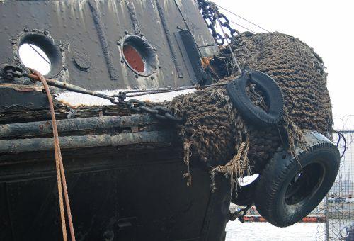 Worn Fender On Old Tugboat