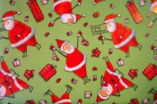 wrapping paper santa clauses funny