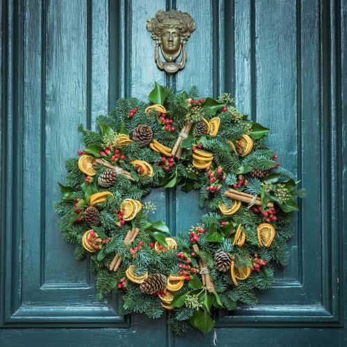 wreath door christmas