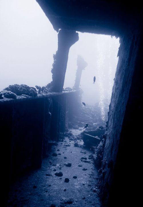 wreck diving underwater