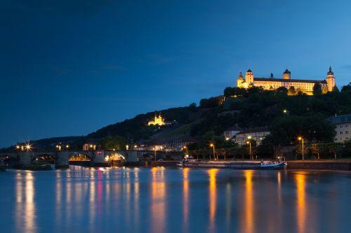 Würzburg, tvirtovė, pilis, Rusijos tvirtovė, Vokietija, pagrindinis, naktinė nuotrauka