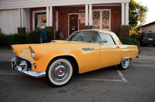 yellow ford thunderbird