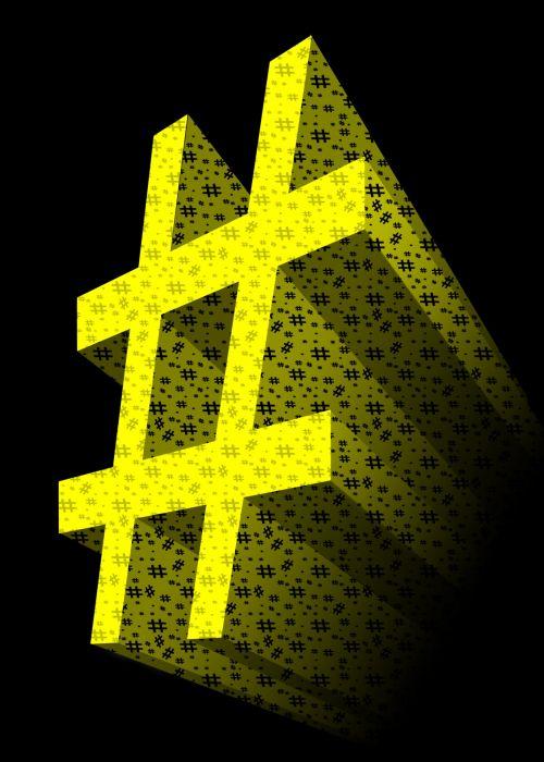 Yellow 3D Hashtag Symbol