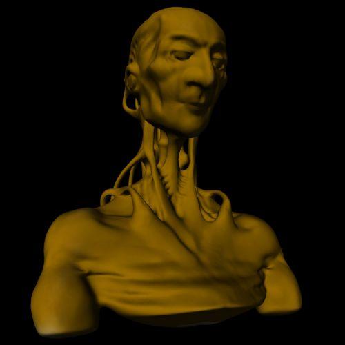3d, galva, geltona, android, skulptūra, dirbtinis, gyvenimas, robotas, žmogus, izoliuotas, juoda, fonas, geltonas android