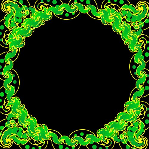 Yellow Round Arabesque Frame