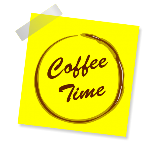 yellow sticker coffee coffee time