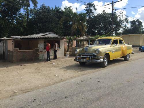 yellow vintage car cuba old american yellow car
