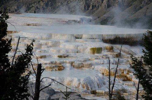 yellowstone  scenic  mammoth hot springs