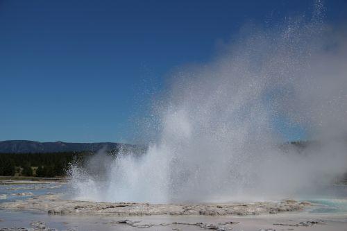 geltonas akmuo, geizeris, karštas, vanduo, nacionalinis, parkas, garai, siera, virti, kraštovaizdis, burbulas, išsiveržti, migla, purkšti, gelsvo akmeninio geizeris