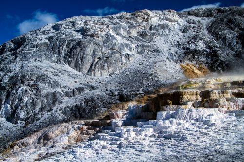geltonojo akmens nacionalinis parkas,Vajomingas,usa,sinter terassen,vulkanas,amerikietis,vulkaninis,mamutas spyruoklės