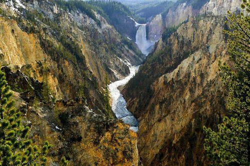 yellowstone river waterfall wyoming